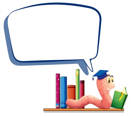 Illustration of a worm reading a book with an empty callout on a white background  Illustration