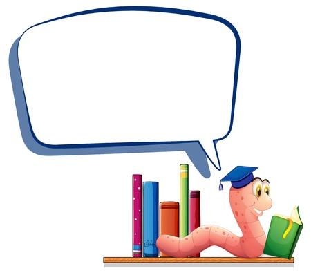 lombriz: Ilustración de un gusano de la lectura de un libro con una llamada de vacío sobre un fondo blanco Vectores