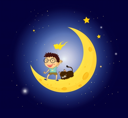 Illustration of a boy and his pet at the moon Vector