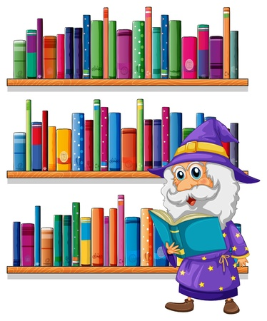Illustration of a wizard reading a book in front of the bookshelves on a white background  Stock Vector - 20729451