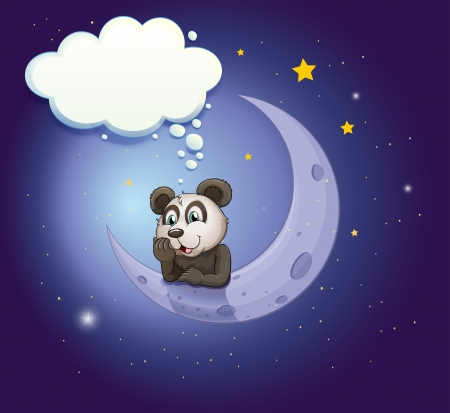 shinning: Illustration of a panda thinking at the crescent moon with an empty callout  Illustration