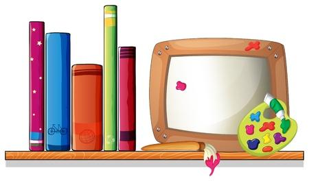 �tag�re bois: Illustration d'un plateau en bois avec des livres et un conseil sur un fond blanc Illustration