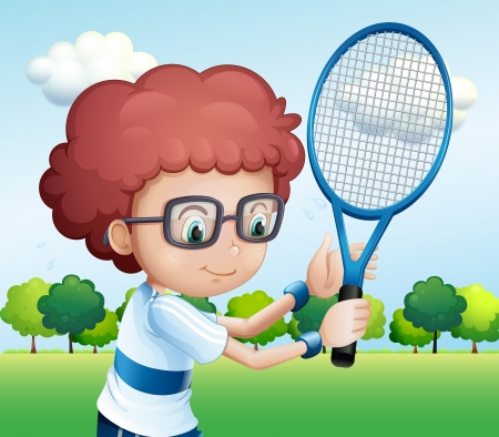 boy with glasses: Illustration of a young boy playing tennis