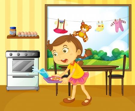 podnos: Ilustrace mladé dívky drží podnos s potravinami