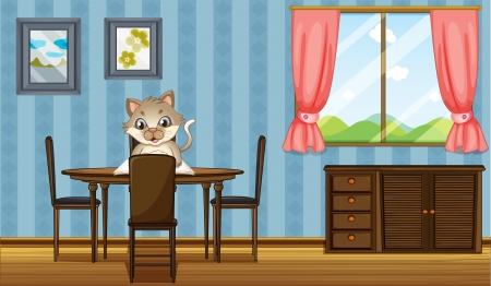 cat open: Illustration of a table with a cat reading