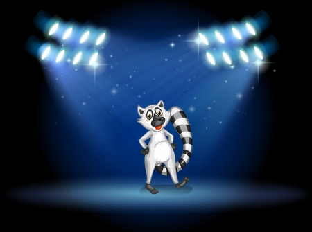 Illustration of a lemur dancing at the stage with spotlights Vector
