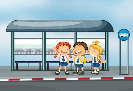 parada de autobus: Ilustración de los estudiantes en la parada del bus