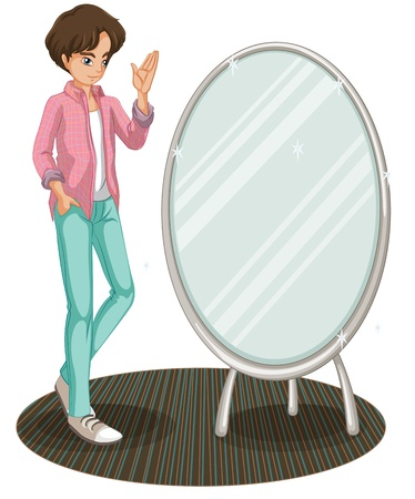 oblong: Illustration of a sparkling mirror beside a fashionable young man on a white background