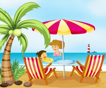 little girl bath: Illustration of a mother and her child at the beach