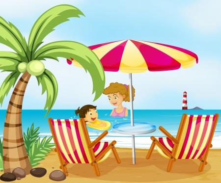 Ilustración de una madre y su hijo en la playa