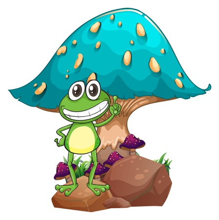 elongated: Illustration of a frog standing above the rock below the giant mushroom on a white background