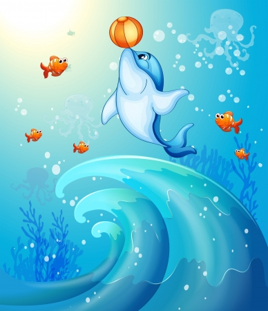 Illustration of a dolphin playing a ball under the sea Vector