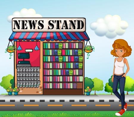 tienda zapatos: Ilustración de una mujer de pie al lado del quiosco de prensa