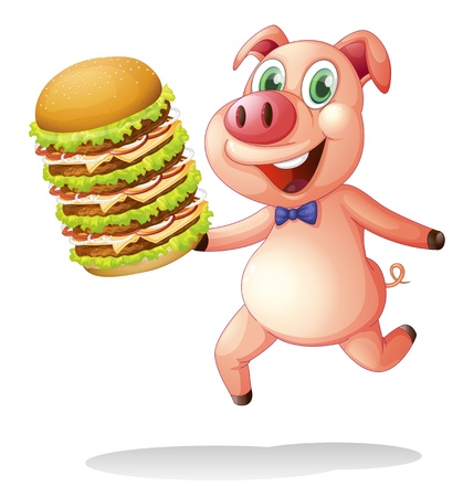Illustration of a pig holding a big pile of hamburgers on a white background Vector