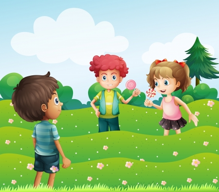 Illustration of the three kids at the top of the hills Vector