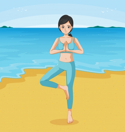 Illustration of a girl doing yoga at the beach Stock Vector - 20727431