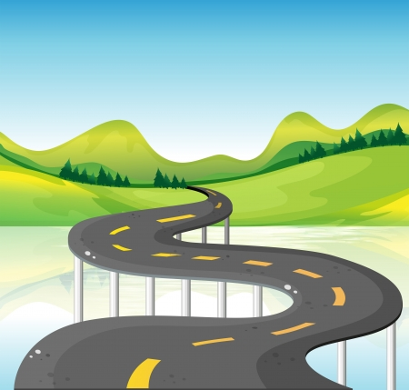 steel bridge: Illustration of a very narrow curve road Illustration