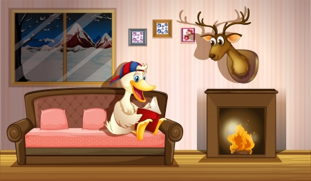 Illustration of a duck reading a book beside a fireplace  Stock Vector - 20727435