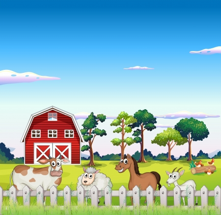 Illustration of the animals inside the fence with a barnhouse at the back Vector
