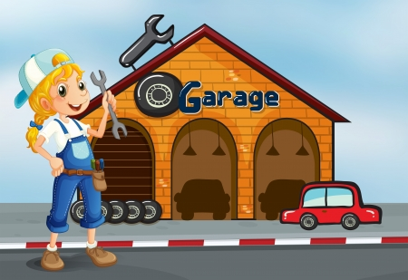 Illustration of a girl holding a tool standing in front of a garage  Vector