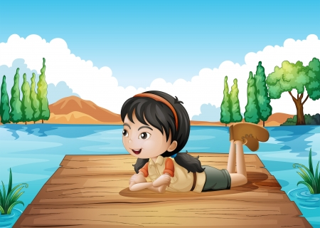 Illustration of  girl lying at the port Vector