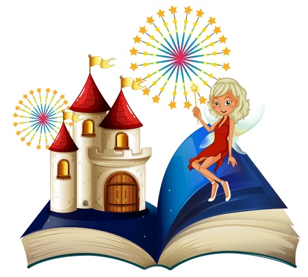 libro de cuentos: Ilustraci�n de un libro de cuentos con un castillo y un hada en un fondo blanco