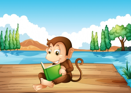 Illustration of a monkey reading a book sitting at the port  Stock Vector - 20727440