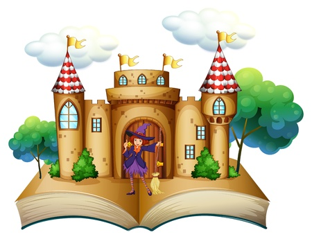 Illustration of a storybook with a castle and a witch on a white background  Vector