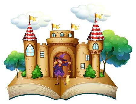 libro de cuentos: Ilustraci�n de un libro de cuentos con un castillo y una bruja en un fondo blanco Vectores