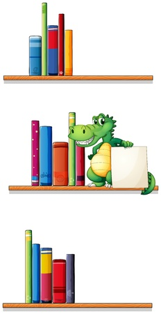 Illustration of the bookshelves with an alligator holding an empty signboard on a white background Stock Vector - 20727442