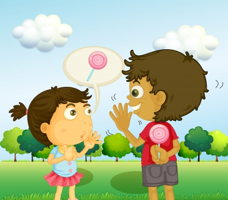 siblings: Illustration of a boy talking to a young girl with a lollipop at his back