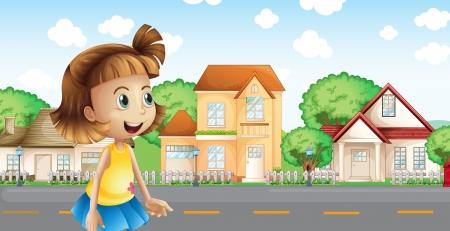 cemented: Ilustraci�n de una ni�a caminando por el barrio