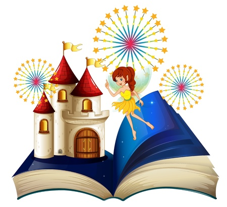 fable: Illustration of a storybook with a flying fairy near the castle with fireworks on a white background