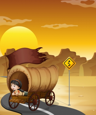 Illustration of a girl inside the wagon at the street Vector