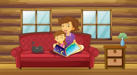 Illustration of a mother reading with her daughter at the sofa Vector