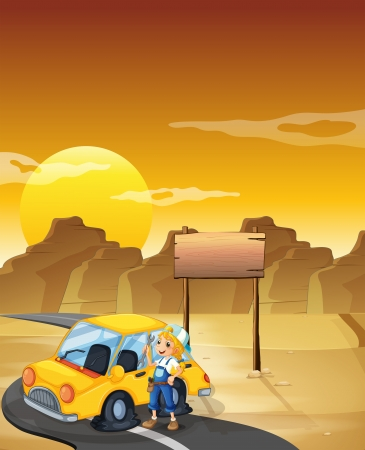 Illustration of a girl fixing the yellow car at the desert with an empty signboard
