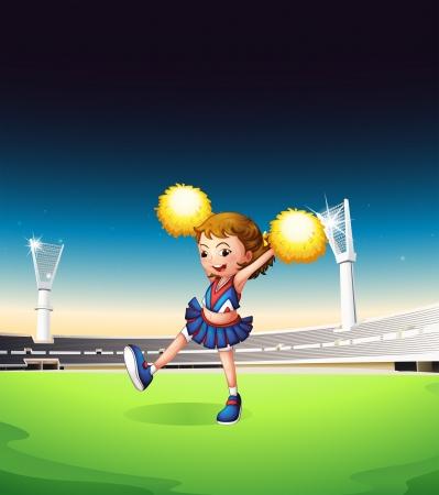 cheer leader: Ilustraci�n de una animadora muy joven en el campo Vectores