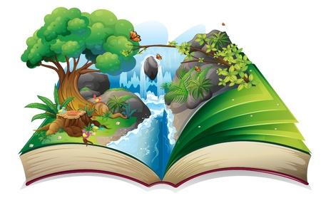 Ilustração de um livro de histórias com uma imagem do presente da natureza em um fundo branco