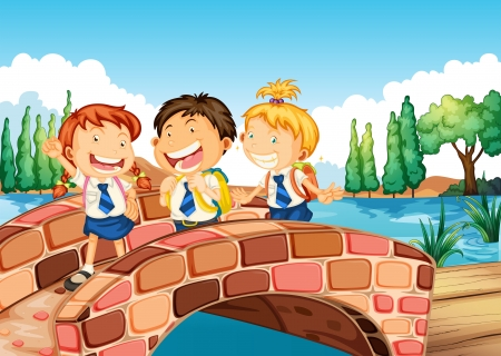 Illustration of the children going to school Vector