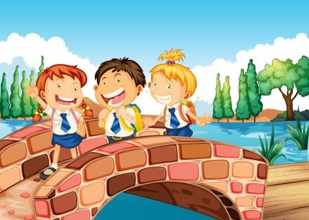 Illustration of the children going to school Illustration