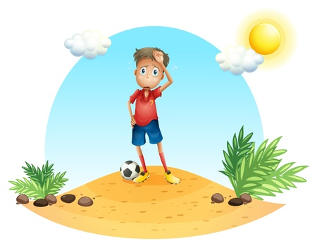 rehearsal: Illustration of a tired soccer player on a white background