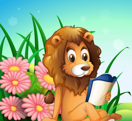Illustration of a lion reading a book at the garden  Vector
