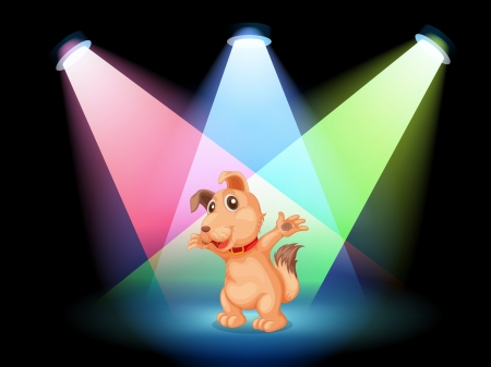 Illustration of a dog with a red collar at the center of the stage Vector