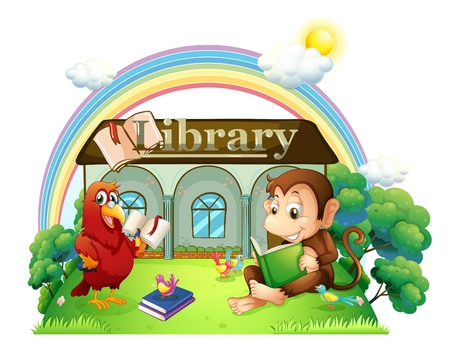 Illustration of a monkey and a parrot reading in front of the library on a white background Stock Vector - 20729822