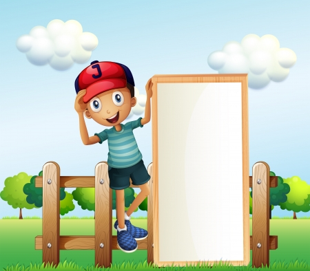 Illustration of a boy standing at the fence wearing a cap holding an empty signage  Vector