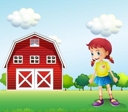 barnhouse: Illustration of a little girl in the barn Illustration