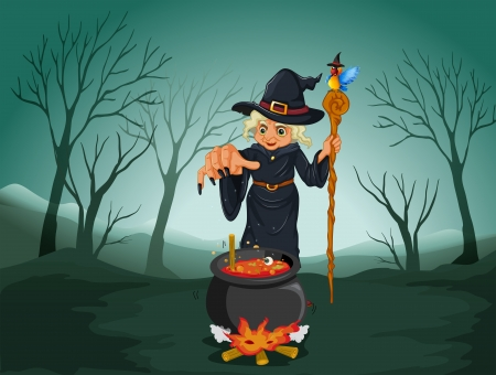 lady bird: Illustration of an ugly witch holding a cane Illustration