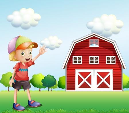 barnhouse: Illustration of a boy waving his hand near the barnhouse