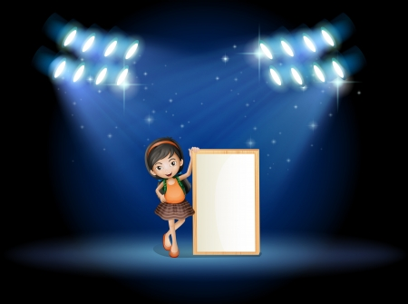 stageplay: Illustration of a stage with a young girl holding an empty signboard