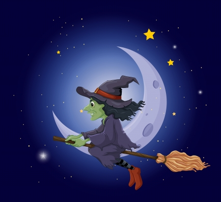 good evening: Illustration of a witch riding on a broomstick floating near the moon